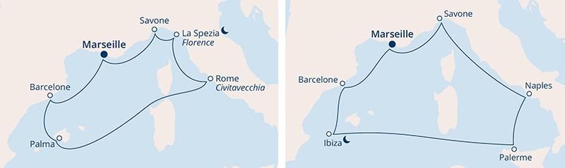 Carte itinéraire Méditerranée Costa Croisières