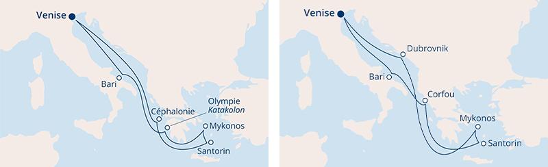 Carte itinéraire Méditerranée Costa Croisières Adriatique