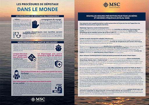 Procédures sanitaires MSC Croisières