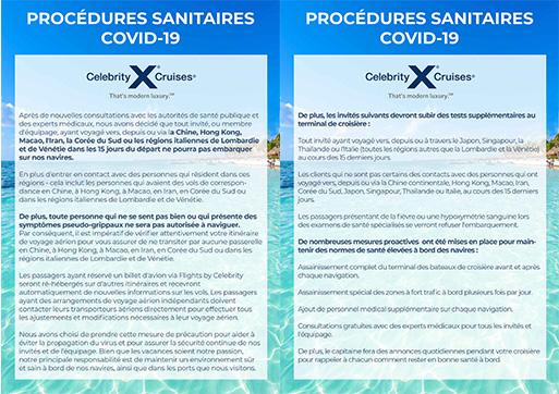 Protocole santé celebrity cruise coronavirus