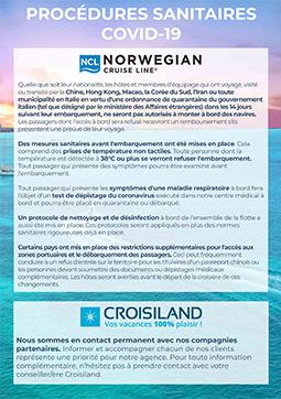 procédures sanitaires Norwegian Cruise Line