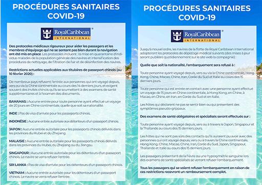 Procédures sanitaires Royal Caribbean