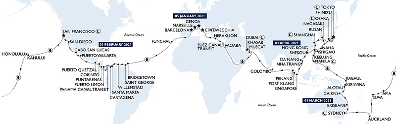Carte itinéraire de la MSC World Cruise 2022